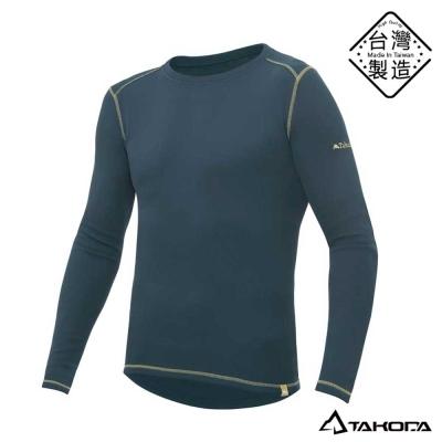TAKODA男款刷毛內搭機能圓領T恤輕薄保暖衣(灰色)