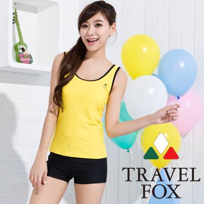 TRAVELFOX 旅狐 亮黃簡約風二件式泳衣