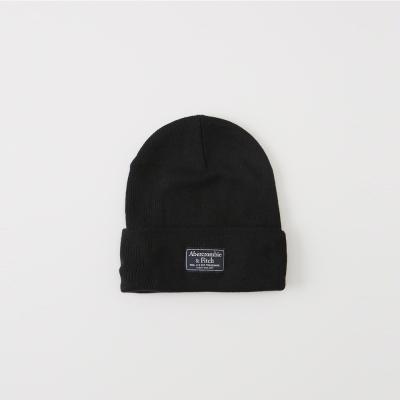 A&F 經典標籤文字保暖毛帽-黑色 AF Abercrombie