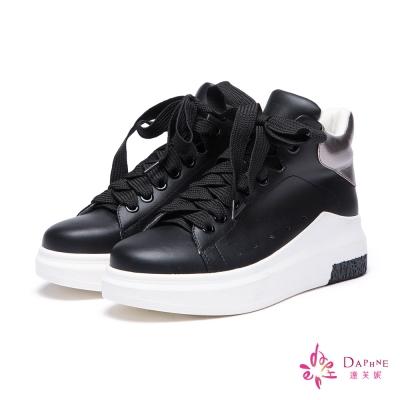 達芙妮DAPHNE-休閒鞋-高筒厚底綁帶休閒鞋-黑8H