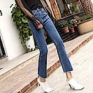 ALLK  高腰喇叭直筒9分牛仔褲 深藍色(腰圍27-31)
