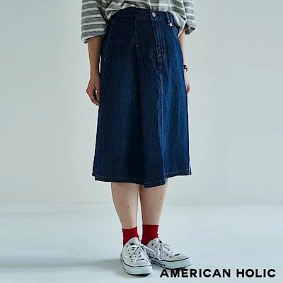 AMERICAN HOLIC 單口袋設計牛仔中長裙