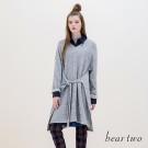 beartwo V領羊毛混織綁帶造型長上衣(二色)