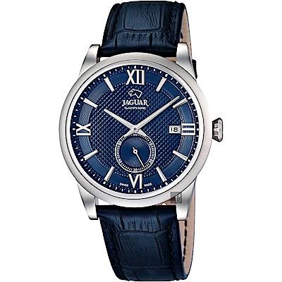 JAGUAR積架 Acamar 小秒針紳士手錶-藍/42.5mm