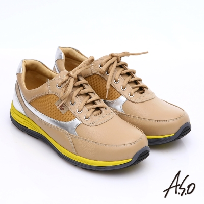 A.S.O 輕漾彈力 全真皮撞色奈米綁帶休閒鞋 卡其色
