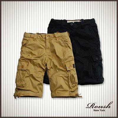 【 Roush 】雙口袋黑標設計高磅數水洗短褲 (6色)