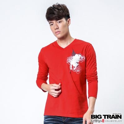 BIG TRAIN 火焰唐獅花柄印花TEE-男-紅色