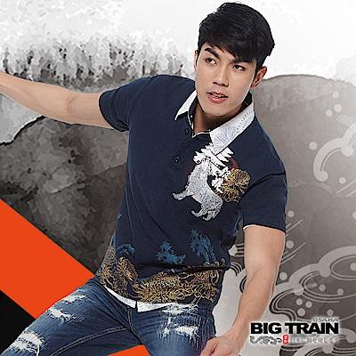 BIG TRAIN 銀狼嘯月開襟短袖-男-暗藍