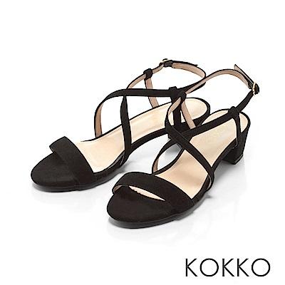 KOKKO-復古女伶交叉線條羊麂皮粗跟涼鞋-經典黑
