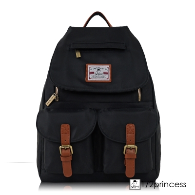 1/2princess防潑水尼龍配真皮雙口袋後背包-黑色[A2734](快)