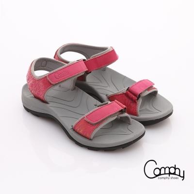Comphy 隨手拖系列 全真皮可調整自黏帶涼拖鞋 粉紅色