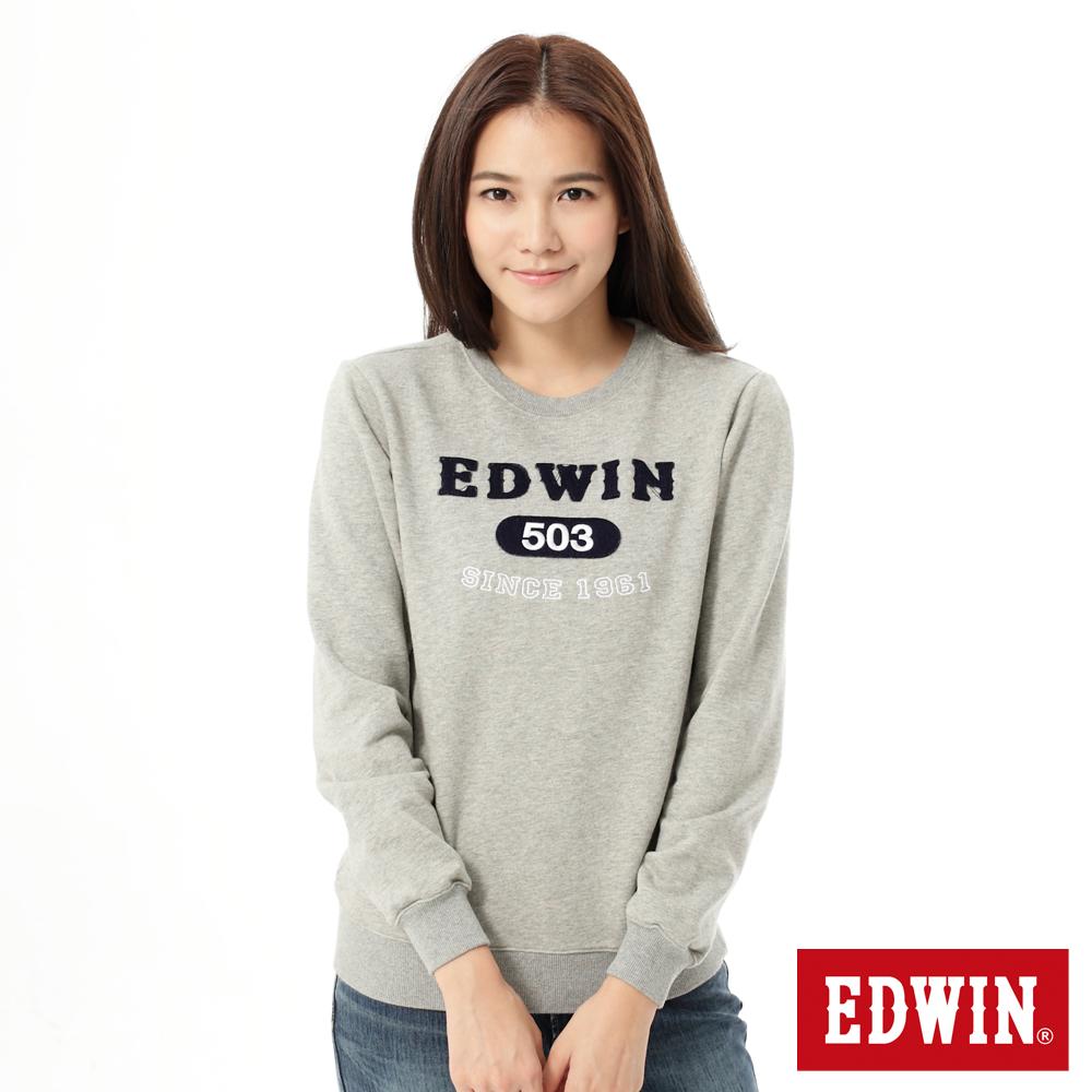 EDWIN 都會休閒503貼布圓領T恤-女款-灰色