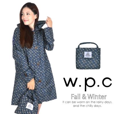 w.p.c 雛菊釦子款 時尚雨衣/風衣(R1041)_深藍