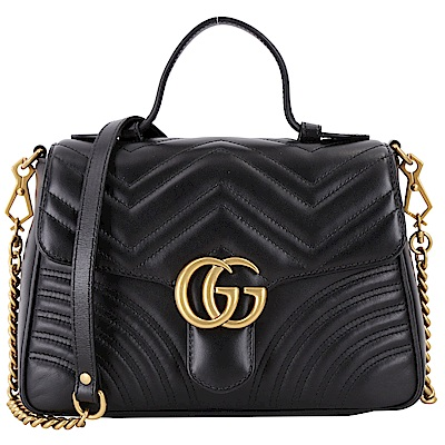 GUCCI GG Marmont 山型絎縫牛皮兩用包(小/黑色)