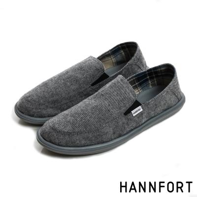 HANNFORT COZY可機洗兩穿式後踩氣墊懶人鞋-男-舒適灰