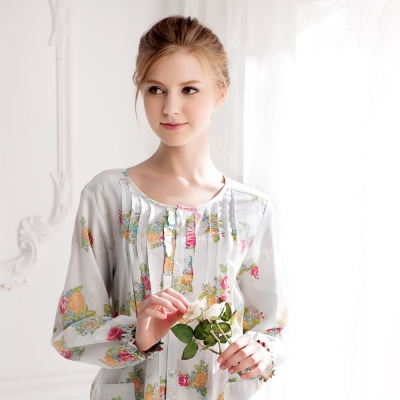 羅絲美睡衣 - 玫瑰花語長袖褲裝睡衣 (粉藍色)