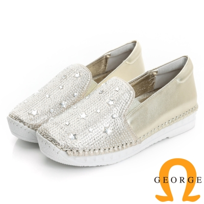 GEORGE 喬治-舒適系列 羊皮水鑽休閒鞋(女)-白色