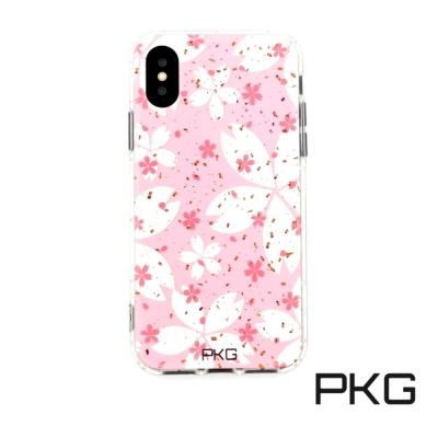 PKG Apple IPhone X 彩繪空壓氣囊保護殼浮雕彩繪-粉紅花瓣