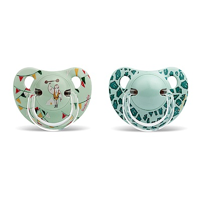 奇哥 suavinex 標準拇指型安撫奶嘴2入組+6M-綠豹紋