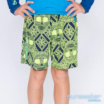 澳洲Sunseeker泳裝抗UV防曬海灘褲泳褲-大男童泳褲/骷髏黃
