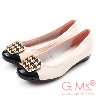 G.Ms. MIT系列-牛皮拼接漆皮千鳥紋金飾小坡跟鞋-米白