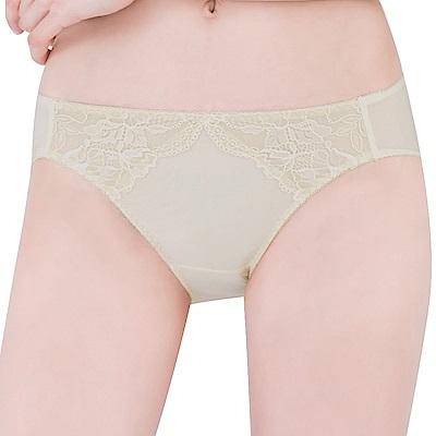 思薇爾 薔薇心系列M-XL蕾絲低腰三角內褲(香檳金)
