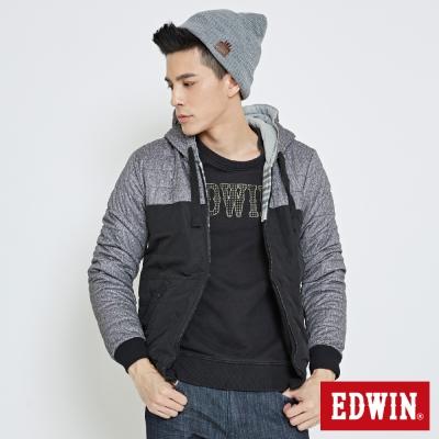 EDWIN 雙面穿印條舖棉外套-男-黑色