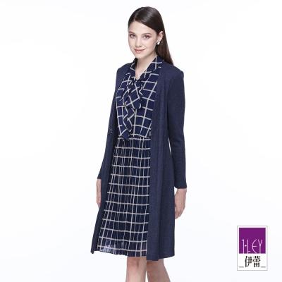ILEY伊蕾 格紋壓摺假兩件洋裝(藍)