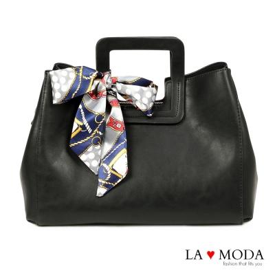 La Moda 古典優雅特色蝴蝶結緞帶大容量肩背斜背手提方包(黑)