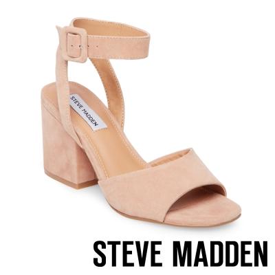STEVE MADDEN-DEBBIE 麂皮踝帶方扣粗跟涼鞋-棕色