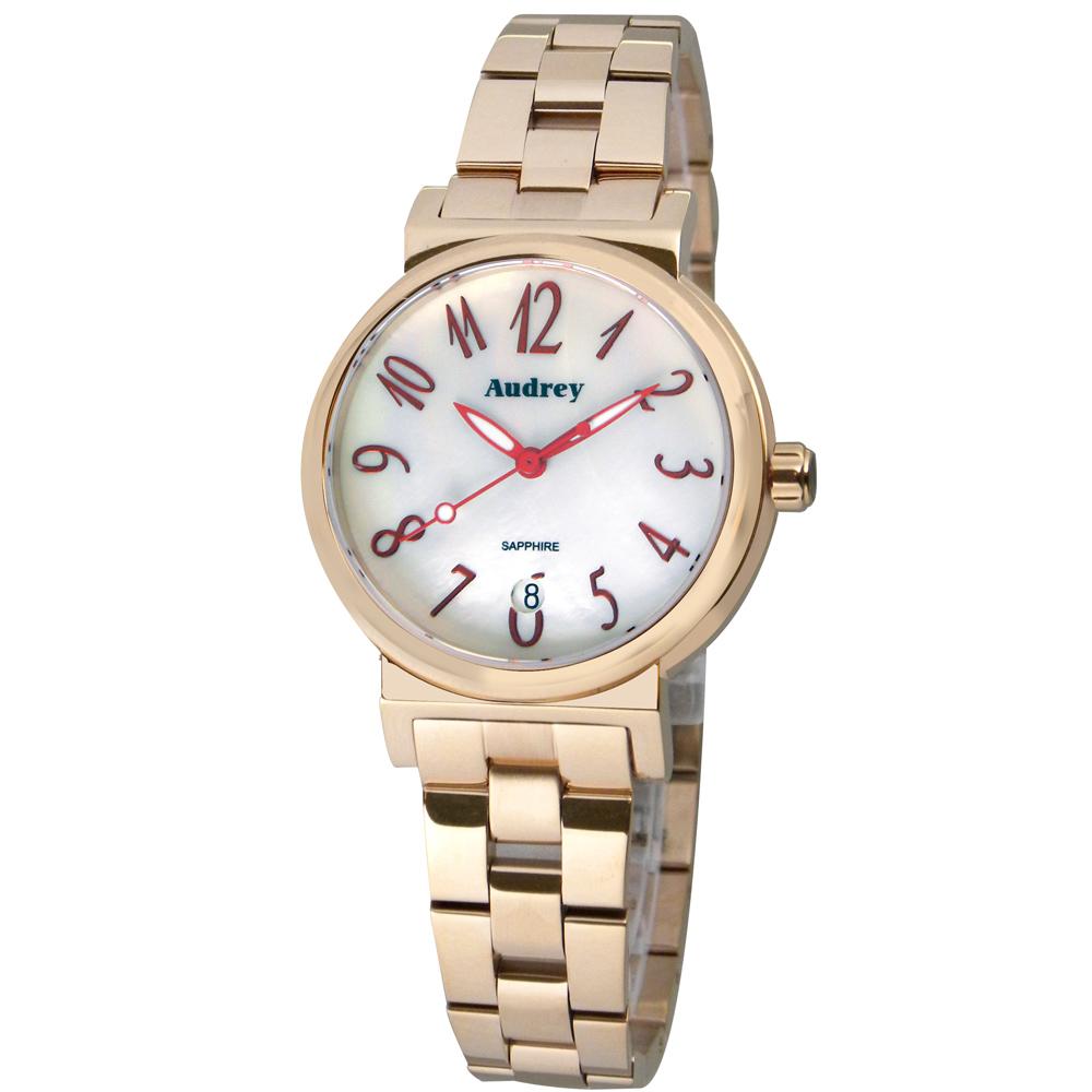 Audrey 歐德利 氣質出眾 時尚珍珠貝女錶(AUGM5652)-白x玫瑰金/33mm