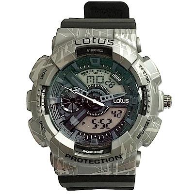 Lotus 蠟筆塗鴉 計時鬧鈴雙顯運動錶(LS-1026-01)-灰黑/52mm