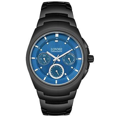 LOVME 潮流魅力時尚手錶-IP黑x藍/43mm