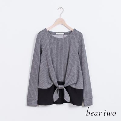 beartwo-俐落直紋拼接雪紡造型上衣-二色