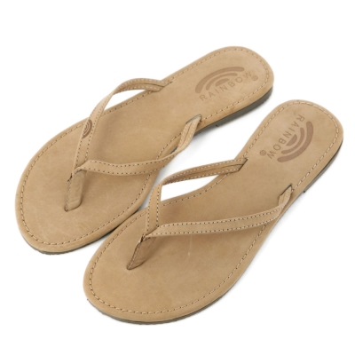 Rainbow Sandals美國牛麂皮夾腳休閒拖鞋-沙褐色