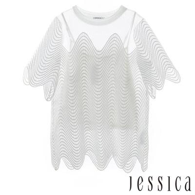 JESSICA-RED-Gina-透膚曲線刺繡二件式上衣-白