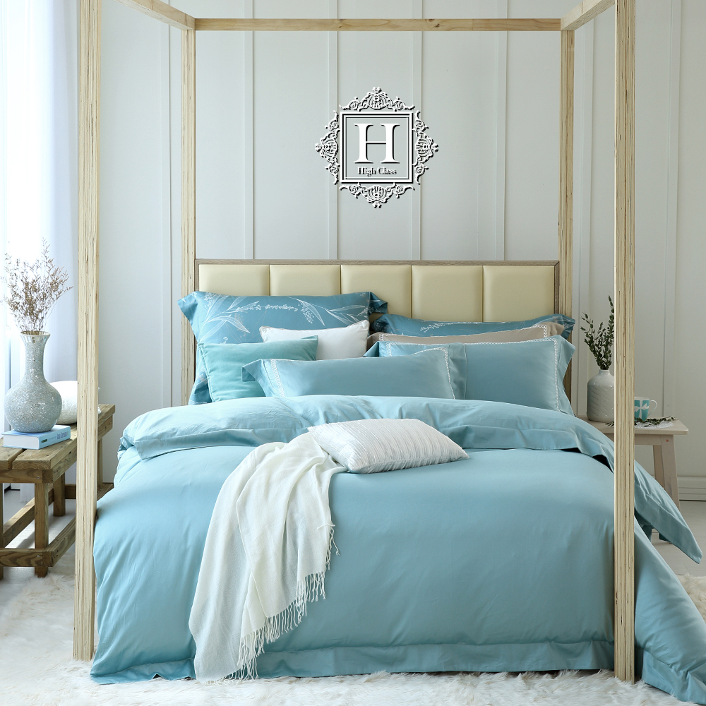 HOYA H Series青瓷綠 雙人四件式頂級500織刺繡匹馬棉被套床包組-贈天絲冬被