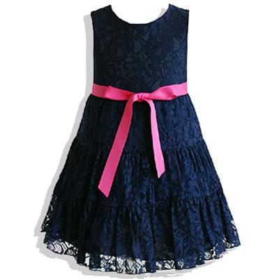 華麗蕾絲網紗鮮豔綁帶蝴蝶結洋裝*5101藍