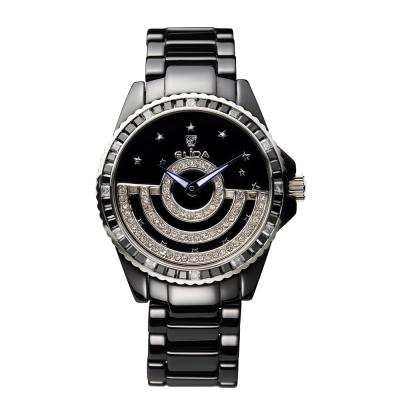 Elida 時來運轉系列~日月星辰晶鑽陶瓷錶-黑/鍊帶42mm
