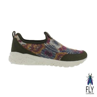 Fly London(女) 藝術花花 彈力布面直套式懶人運動鞋- 綠底花 @ Y!購物