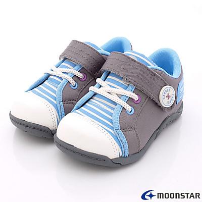 日本Carrot機能童鞋-休閒條紋拼圖設計款-C21137灰(中大童段)N