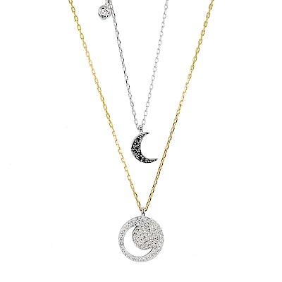 SWAROVSKI 施華洛世奇 黑色水晶月亮 多層次金銀雙色項鍊