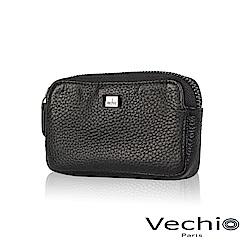 VECHIO - 荔枝壓紋系列厚型零錢包- 經典黑