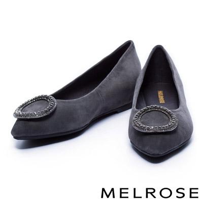 娃娃鞋 MELROSE 圓型鑽釦羊麂皮內增高娃娃鞋-灰