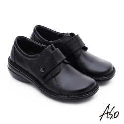 A.S.O 手縫氣墊-3E寬楦 魔鬼氈圓飾扣氣墊鞋 黑
