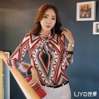 LIYO理優幾何印花立領雪紡襯衫(紅)