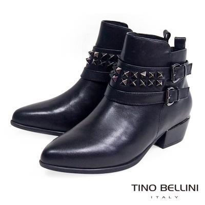 Tino Bellini 搖滾鉚釘帥勁尖楦低跟短靴_黑