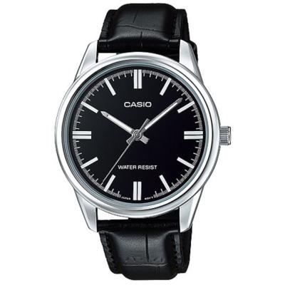 CASIO 經典復古金時尚簡約指針腕錶-銀框X黑面(MTP-V005L-1A)/42mm