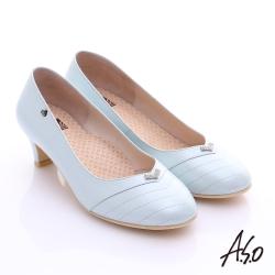 A.S.O 舒活寬楦 全真皮桃子口奈米粗跟鞋 粉藍