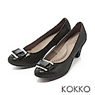 KOKKO -都會時尚金屬飾釦羊皮粗高跟鞋-經典黑